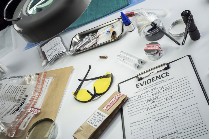 Evidence bag in police scientific laboratory
