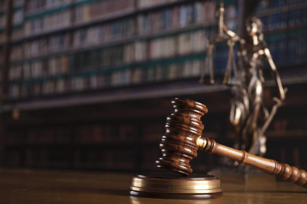 Judge gavel sitting on table